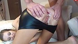 Skinny and cute amateur wife: double anal creampie