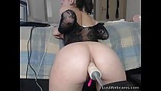 Ass fucked on web camera by a machine
