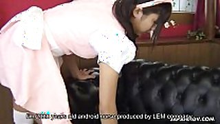 Asian maid takes a raunchy program of her slaver