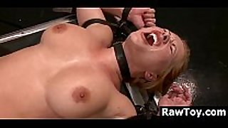 Russian thonged and fucked by a machine