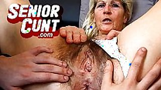 Up close pov old dirty cleft fingering with aged g...