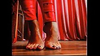 Creamy oily european feet