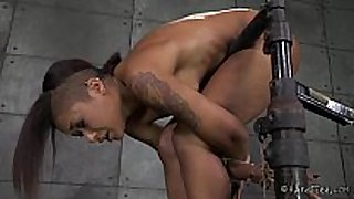 Ebony cutie in strict rope thraldom