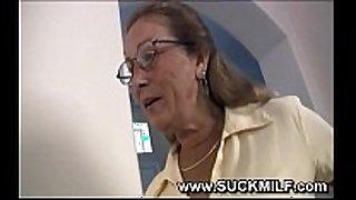 Horny cougar granny sucks young dude
