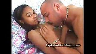 Ebony legal age teenager heavy facial in dilettante black on bla...