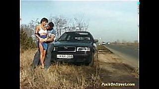 Crazy non-professional white women receives cum next to car