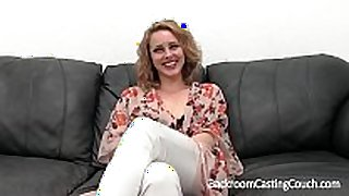 Blonde stripper 1st anal on casting daybed