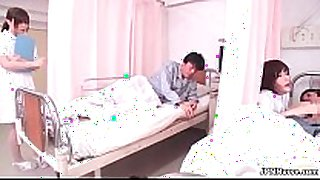 Horny japanese nurse sucking off