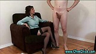 Cfnm stockings black brown gives cook jerking