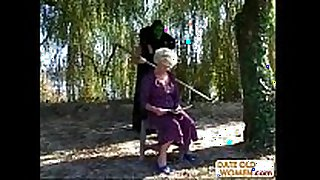 Granny receives a lesson from masked stud