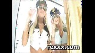 2 blondes 1 fellow having a group sex in a cop par...