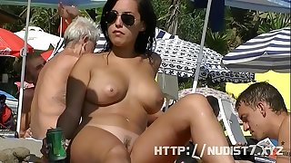 Sexy nudist sweethearts are captured on camera on a beach