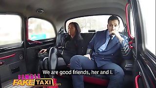 Female fake taxi pilot delivers facial after landing his dick in euro fur pie