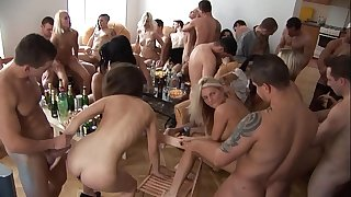 Beautiful czech beauties giving a head at home party