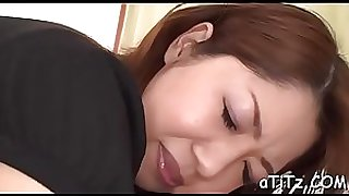 Ravishing japanese with beautiful knockers delights with blowjob