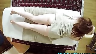 Massage sweetheart tittyfucked and facialized