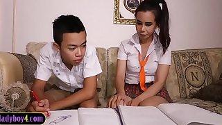 Asian boy sucks off ladyboy to pieces partner schoolgirl