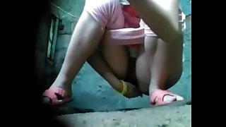Cute Sweeping Voyeur Toilet Pissing