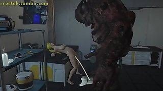 Samus engaging in Hardcore 3D Monster Porn