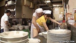 Japanese waitress Mimi Asuka gets finger fucked in the restaurant