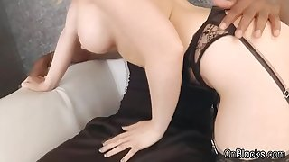 Sultry blonde sucks on big black cock