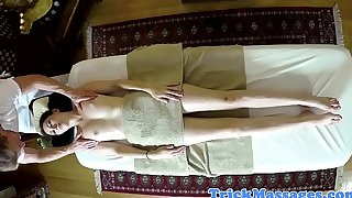 Amateur massage babe doggystyled by masseur