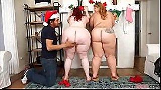 Two massive ass bbws surprise fake santa claus