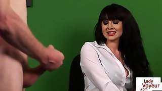 British CFNM voyeur enjoys JOI relating to the office