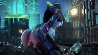 Overwatch Widowmaker rides huge dick and moans with her big ass