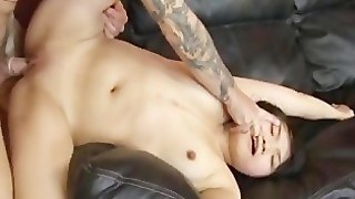 Submissive Asian Gets Fucked By White Guys