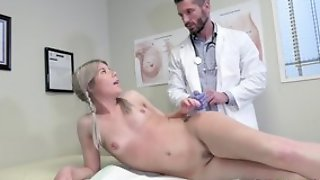 Young blonde girl seduces doctor to hardcore sex and blowjob