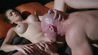 Young chick does blowjob and licks balls of bold man, he is fucking her in hardcore sex act and cum in mouth